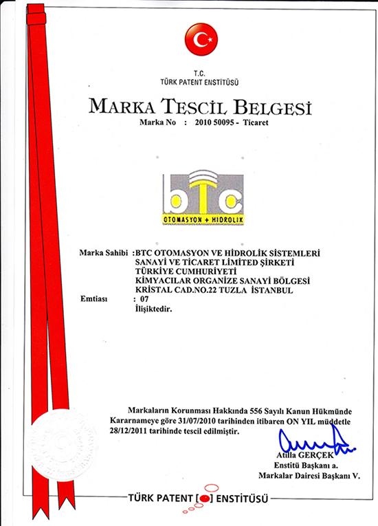 BTC Otomasyon Marka Tescil Belgesi