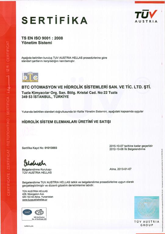 BTC Otomasyon TS EN ISO 9001 2008