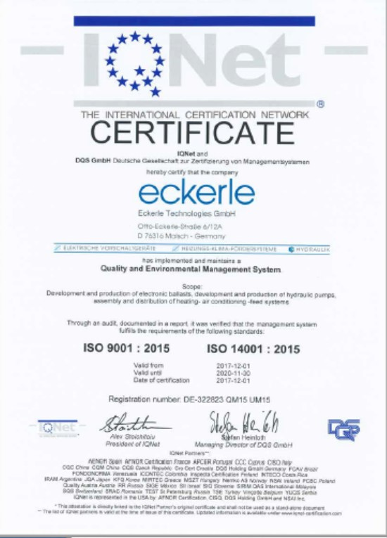 Eckerle IQNET ISO 9001 2015 - ISO 14001 2015