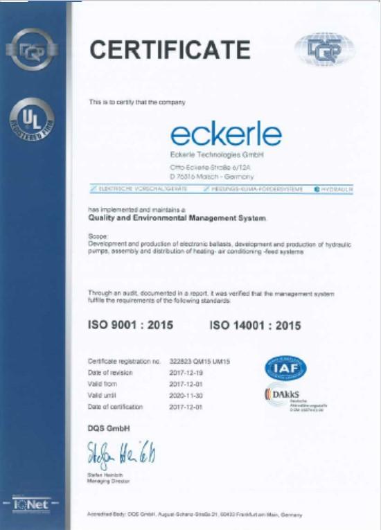 Eckerle ISO 9001 2015 - ISO 14001 2015