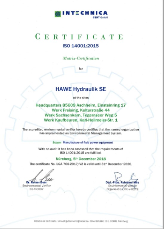 HAWE DIN ISO 14001-2015 SE EN