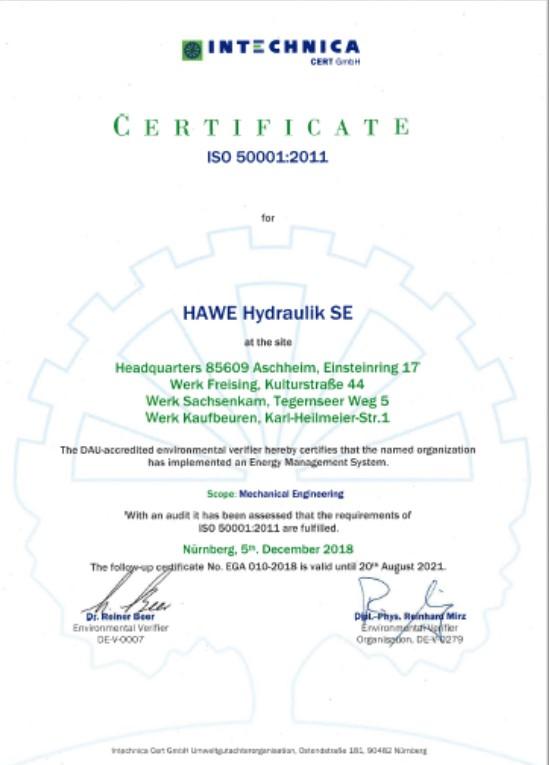 HAWE DIN ISO 50001-2011 SE EN