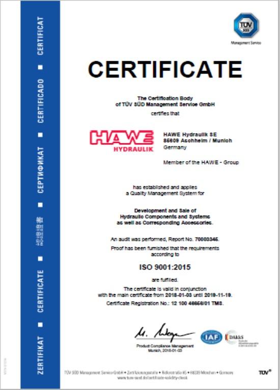 HAWE DIN ISO 9001-2015 SE-Munich EN